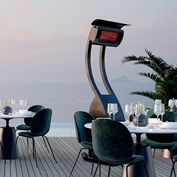 free standing heater on a restaraunt deck in front of water