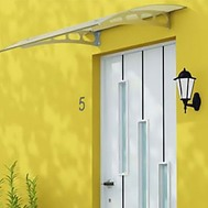an awning over a front door
