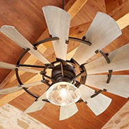 a windmill style outdoor ceiling fan