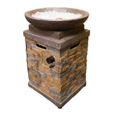 az patio heaters hdq0102 29u0026quot round faux stone firepit with square - Az Patio Heaters