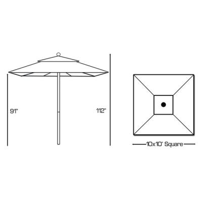 Galtech International 792 Manual Lift - 10' x 10' Square Umbrella