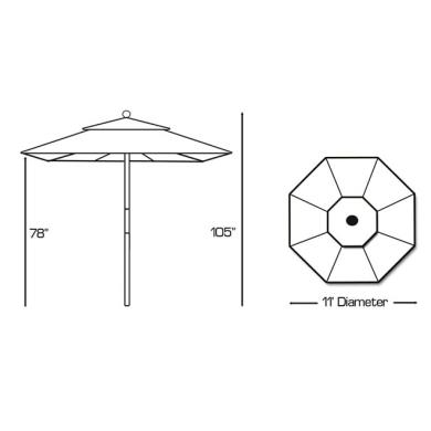 Galtech International 183-O 11' Round Shade with Quad Pulley