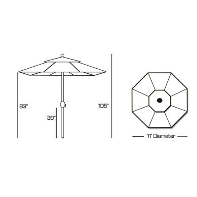 Galtech International 789 Deluxe Auto Tilt - 11' Round Umbrella