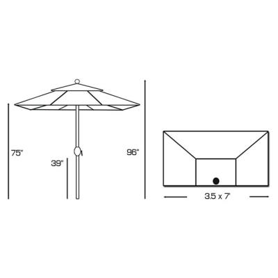 Galtech International 772 Half Wall - 3.5' x 7' Umbrella