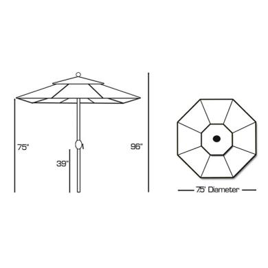 Galtech International 727 Deluxe Auto Tilt - 7.5' Round Umbrella