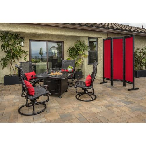Gensun S346842345411 Grand Terrace Woven High Back Swivel Rocking Lounge Chairs and Grand Terrace Square Fire Table 5 Piece Set