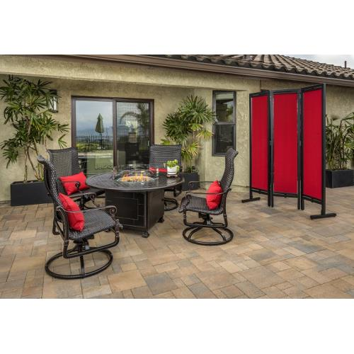 Gensun S346854345412 Grand Terrace Woven High Back Swivel Rocking Lounge Chairs and Grand Terrace Round Fire Table 5 Piece Set