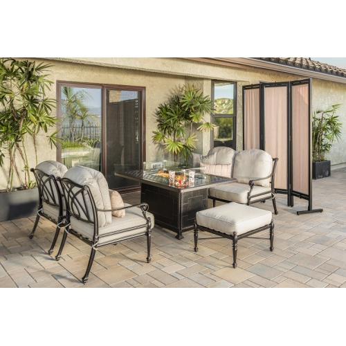Gensun S3468C734C713 Grand Terrace Lounge Chairs, Loveseat, Ottoman, and Grand Terrace Rectangular Fire Table 5 Piece Set