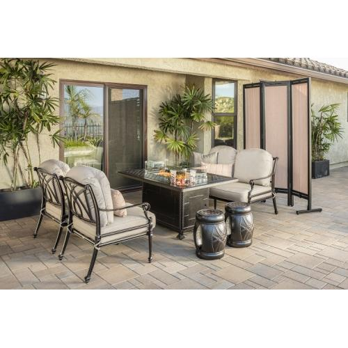 Gensun S3468C734C714 Grand Terrace Lounge Chairs, Loveseat, Seatables and Grand Terrace Rectangular Fire Table 6 Piece Set