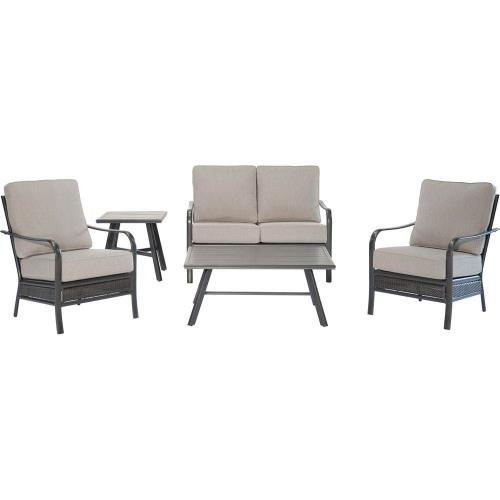 Hanover OAKMONT5PCL-ASH Oakmont - 5-Piece Commercial-Grade Patio Set with 2 Aluminum/Woven Club Chairs, Loveseat, Slat Coffee Table and Slat Side Table