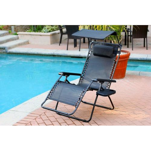 "Jeco Inc GC4 44.5"" Oversized Zero Gravity Chair with Sunshade and Drink Tray"