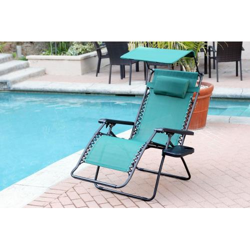 "Jeco Inc GC7 44.5"" Oversized Zero Gravity Chair with Sunshade and Drink Tray"