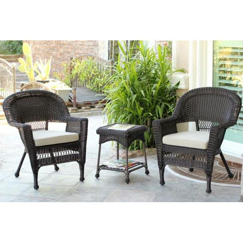 "Jeco Inc W00201_2-CES0 36"" 3 Piece Chair and End Table Set with Cushion"