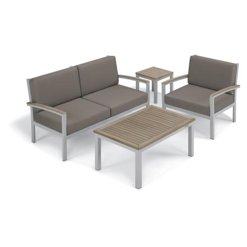 Oxford Garden 5055 Travira - 61.5 Inch 4-Piece Loveseat and Table Chat Set