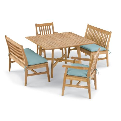 Oxford Garden 5846 Wexford - 48 Inch 5-Piece Table, Chair, and Bench Dining Set with Cushions