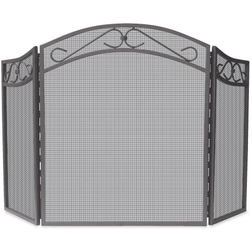 "UniFlame S-1638 52.25"" 3 Fold Arch Top Screen with Scrolls"