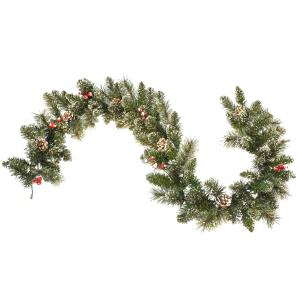 6' Snow Cashmere Mix Pine Garland 106 tips and Pinecones & Berry