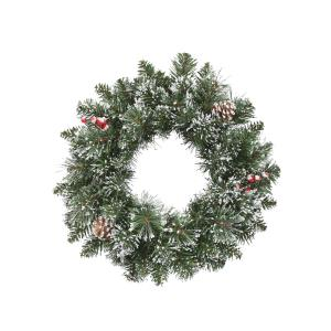 17 Inch Christmas Wreath with Snow Cashmere Mix Pine 72 tips and Pinecones & Berry