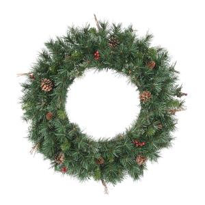 30 Inch Christmas Wreath, 70UL Light, 165 tips, Pre-Lit,PineCones, Berry, Twigs