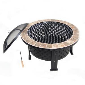 "Astella - 30"" Round Fire Pit With Unique Tile"