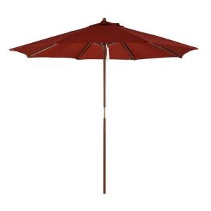 Astella - 9' Wood Market Umbrella With Pulley Lift