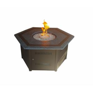 """55"""" Hexagon Firepit with Faux Stone Top"""