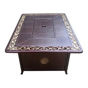 "49.5"" Rectangular Decorative Firepit with Scroll Design"