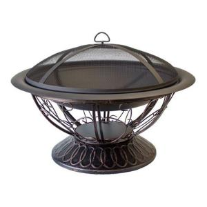 "30"" Round Wood Burning Firepit With Scroll Design-Poker/Cover Included"
