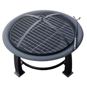 "30"" Round Wood Burning Firepit With Cooking Grate-Poker/Cover Included"