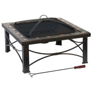 "30"" Square Slate Tile Square Wood Burning Fire Pit"