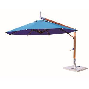 Sirocco - 10' Round Side Wind Bamboo Off-Set Market Umbrella
