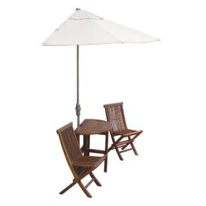 Terrace Mates Caleo Standard - 9'  Half-Canopy Umbrella with Half-Round Table Set