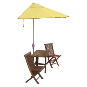 Terrace Mates Villa Deluxe - 7.5'  Half-Canopy Umbrella with Half-Square Table Set