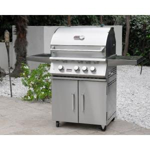 28 Inch 3-Burner Grill on Double Door Cart
