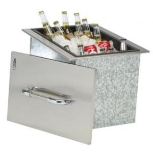 Ice Chest with Cover and Drain, Stainless Steel Drop-In