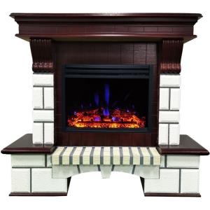 Belcrest - 48 Inch Traditional Faux Brick Electric Fireplace Mantel with Enhanced Log Display and Mahogany