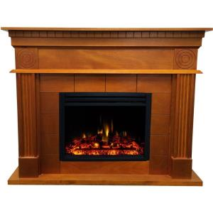Shelby - 47.8 Inch Electric Fireplace Mantel with Deep Log Insert
