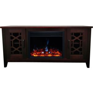 Stardust - 56 Inch Mid-Century Modern Electric Fireplace with Deep Multi-Color Log Insert