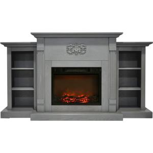 Sanoma 72 In. Electric Fireplace  with Built-in Bookshelves