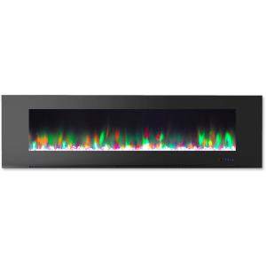 72 In. Wall-Mount Electric Fireplace with Multi-Color Flames