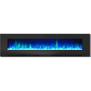 78 In. Wall-Mount Electric Fireplace with Multi-Color Flames