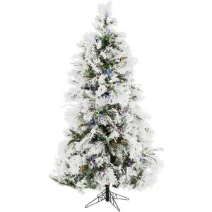 Frosted Fir - 6.5' Artificial Christmas Tree with 450 Multi-Color LED String Lighting and Holiday Soundtrack