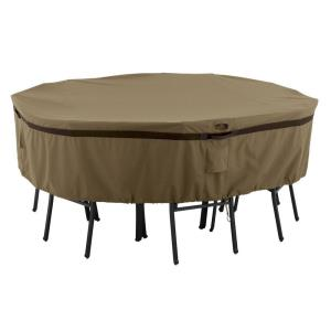 """Hickory - 96"""" Large Round Table  and  Chair Cover"""