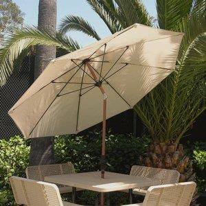 Monterey Deluxe - 9' Octoganal 2-Tier Market Umbrella with Faux Oak Frame Finish