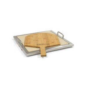 Pizza Stone Kit with Wooden Pizza Peel