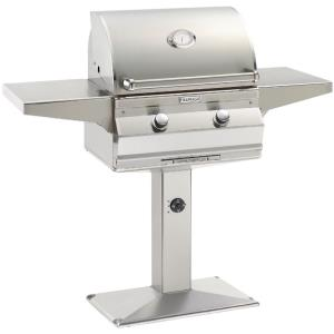 "Choice - 24"" Natural Gas Patio Post Mount Grill with Analog Thermometer"