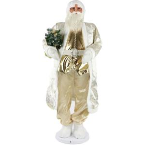 58 Inch Dancing Santa in Paisley Coat with Mini Christmas Tree
