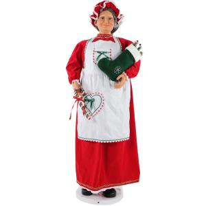 58 Inch Dancing Mrs. Claus in Baking Outfit with Stocking and Candy Cane