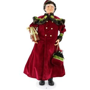 58 Inch Dancing Mrs. Claus with Jeweled Velvet Coat and Wrapped Gift