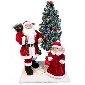 "24"" Music and Motion Christmas Scene with 18"" Santa, 12"" Doll and 24"" Lighted Christmas Tree"